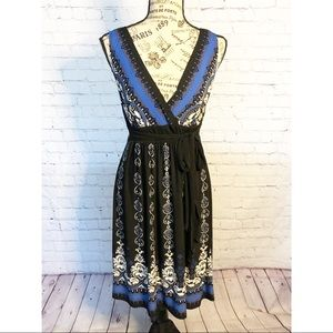 Connected Blue, Black and White Printed Dress